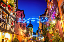 Riquewihr Old Town In Christmas Time, Alsace France
