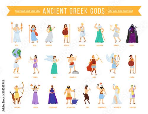 Photo Ancient Greek pantheon gods and goddesses flat vector illustrations set