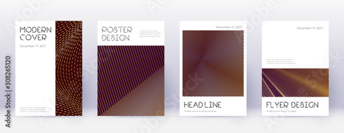 Fototapety, obrazy: Minimal brochure design template set. Gold abstrac