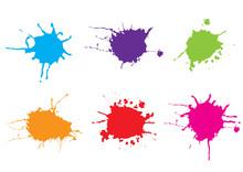 Vector Color Paint Splatter Ba...