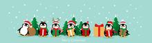 Penguin. Christmas Background. Christmas Greeting Card. Vector Illustration.