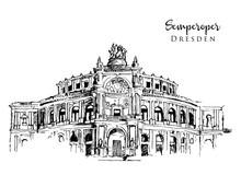 Drawing Sketch Illustration Of Semperoper Dresden
