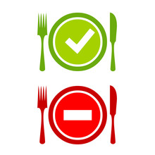 Food Safety Icon, Safe And Danger Food