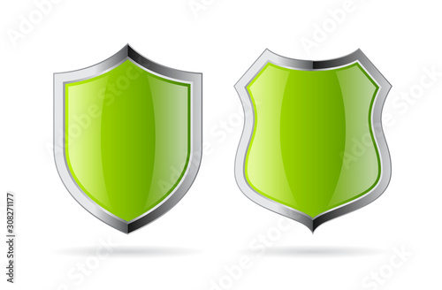 Green glossy security shield icon Fototapet