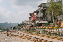 Scene Of Shifen Rail Way Station,Shifen Is Famous Old Town In Pingxi Railway Line ,New Taipei, Taiwan