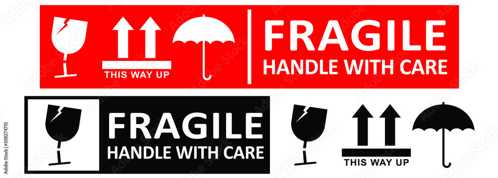 Fototapeta fragile handle with care sticker or label collection