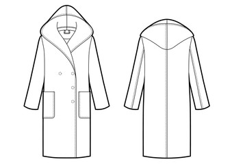 classic womans coat with hood