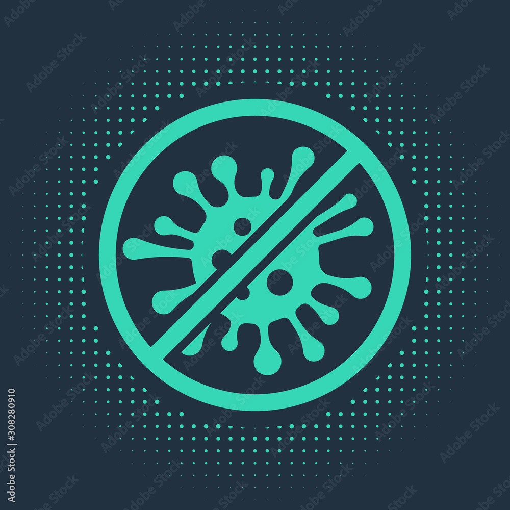 Fototapeta Green Stop virus, bacteria, germs and microbe icon isolated on blue background. Antibacterial and antiviral defence, protection infection. Abstract circle random dots. Vector Illustration