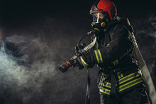 Caucasian Modern Hero Fireman ...