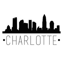 Charlotte North Carolina Skyline Silhouette City Design Vector Famous Monuments.