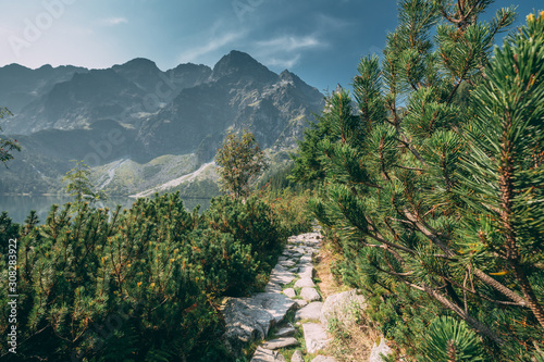 Fototapeta Tatra National Park, Poland. Trail Near Mountains Lake Morskie Oko Or Sea Eye Lake In Summer Morning. Five Lakes Valley. Beautiful Scenic View. European Nature obraz