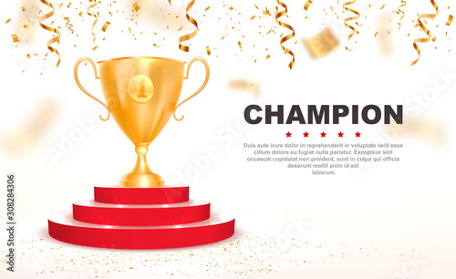 Obraz 3d golden trophy cup on red podium vector illustration. First place win template with falling down confetti on white background - fototapety do salonu