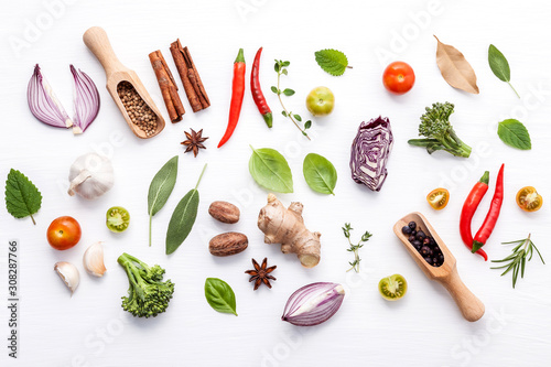 Various fresh vegetables and herbs on white background Canvas Print