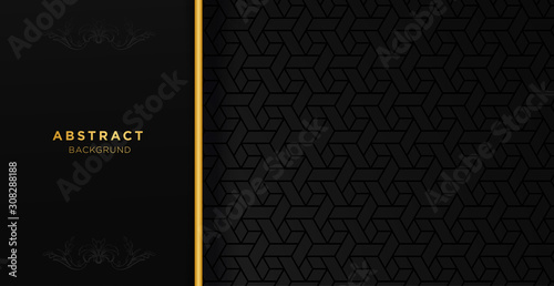 Papel de parede Black and gold luxury template background with ornament, can be used for premium wedding invitation, banner, golden flyer