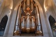 canvas print picture - Cathedral big church organ pipes
