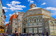 Duomo. Santa Maria Del Fiore Cathedral In Florence. Italy. Front Side On Blue Sky Background. Sunny Day.