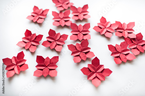red origami paper hydrangea tessellation