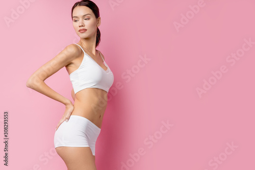 Perfect body of young woman wearing underwear. example of sports , fitness or plastic surgery. aesthetic cosmetology concept