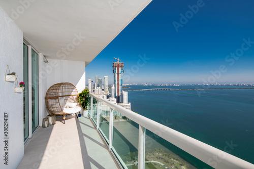Valokuvatapetti Penthouse balcony with amazing aerial view of Bay