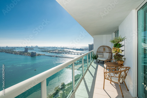 Fotografiet Amazing balcony apartment view of Port Miami FL USA