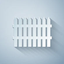 Paper Cut Fence Wooden Icon Isolated On Grey Background. Garden Fence Sign. Paper Art Style. Vector Illustration