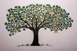 canvas print picture - Baum mit gelben Schleifen
