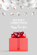 Merry Christmas And Happy New Year Web Banner. White Cloud, Christmas Ball,red Gifts Box And Red Bow Ribbon On Grey Background. 3d Rendering Illustration.