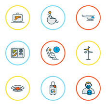 Travel Icons Colored Line Set With Oxygen Mask, Helicopter, Pilot Cap And Other Lunch Elements. Isolated Vector Illustration Travel Icons.
