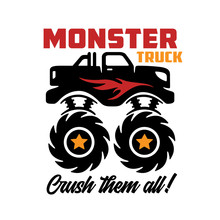 Monster Truck Kids Apparel Design. Vector Illustration.