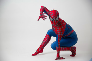 1 December 2019. Israel, tel Aviv. spider-man posing on white background