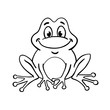 Cute frog in cartoon style, drawing in a black outline. Isolated on white background. For coloring book. Vector illustration.