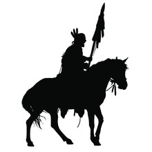 A Vector Silhouette Of An American Indian Warrior Riding A Horse.