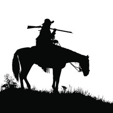 A Vector Silhouette Of A Wild West (18th Century) Mountain Man On A Horse.