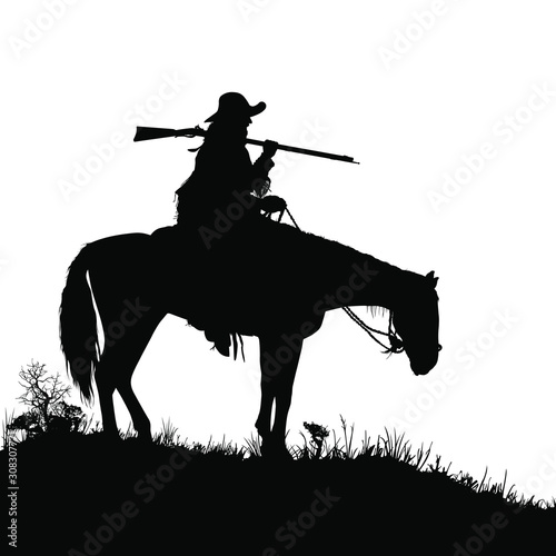 A vector silhouette of a wild west (18th century) mountain man on a horse Canvas Print