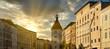 canvas print picture - Lederer Turm in Wels Oberösterreich bei Sonnenuntergang