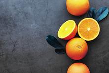 Orange Citrus Fruit On A Stone...