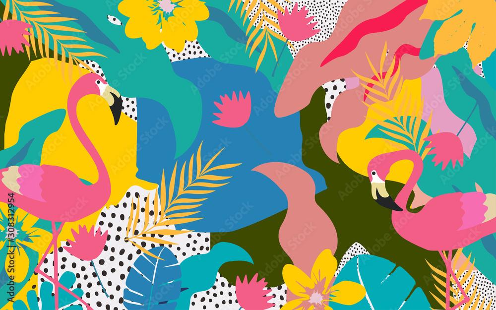 Kolorowi kwiaty i liścia plakatowy tło z flaminga wektorowym ilustracyjnym projektem. Egzotyczny druk tropikalnych roślin na podróże i wakacje, modę, spa i wellness, wesele i imprezy <span>plik: #308312954 | autor: blossomstar</span>