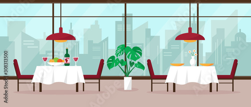 Photo Modern restaurant interior vector illustration