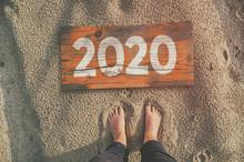 2020 Wooden Board On Sandy Bea...