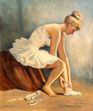 Vintage Oil Painting Of Young ...