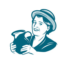 Beautiful Young Woman With A Jug Of Milk. Dairy Farm Vector Illustration