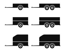 Car Trailer Icon Set. Vector D...