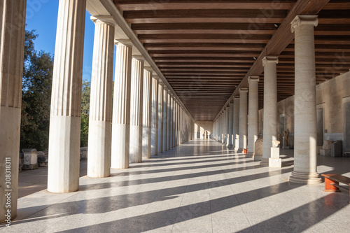 GREECE, ATHENS - NOVEMBER 30, 2019: Stoa of Attalos in Athens Greece Canvas Print