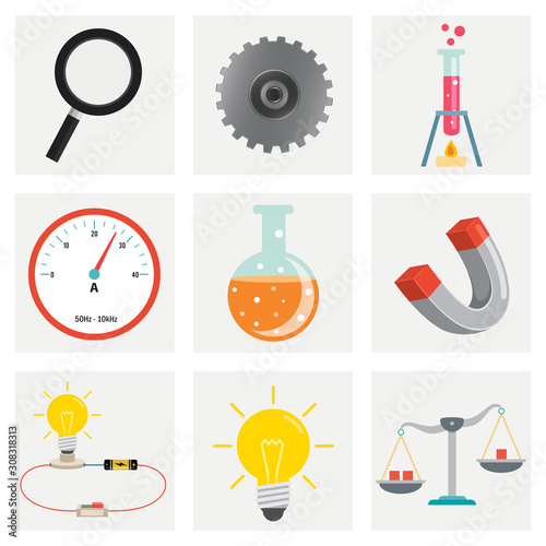 Photo Set Of Physics And Chemistry Equipments