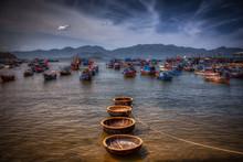 Vietnamese Basket Boats In The Bay