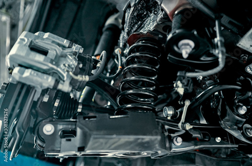 Rear suspension of a modern car Canvas Print