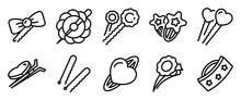 Barrette Icons Set. Outline Se...