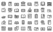 Library Icons Set. Outline Set...