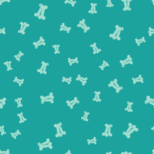 Green Dog Bone Icon Isolated Seamless Pattern On Green Background. Pets Food Symbol. Vector Illustration