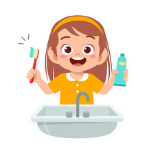 Happy Cute Kid Girl Brush Clean Teeth